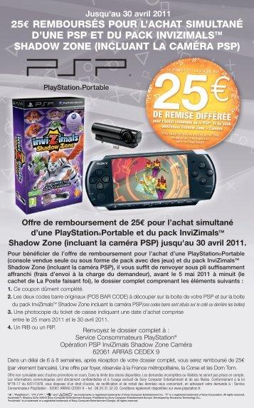 25€ remboursés pour l'achat simultané d'une psp et du ... - PlayStation