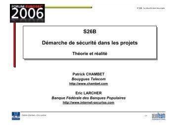 La démarche de sécurité dans les projets La démarche de sécurité ...