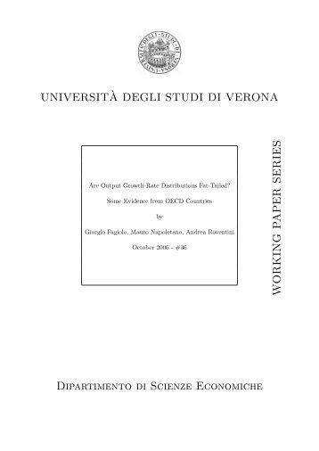 UNIVERSIT`A DEGLI STUDI DI VERONA W O RKING P APER ...