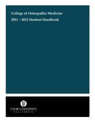 2011-2012 - College of Osteopathic Medicine - Touro University ...
