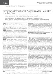 Predictors of Vocational Prognosis After Herniated Lumbar Disc - Step