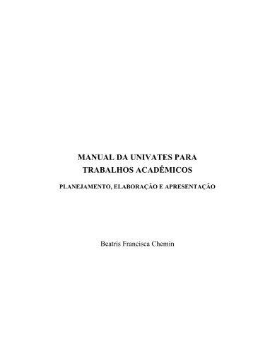 MANUAL DA UNIVATES PARA TRABALHOS ACADÊMICOS