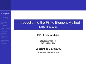 Introduction to the Finite Element Method - Lecture 02 & 03