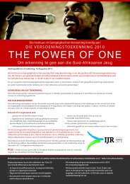 THE POWER OF ONE - Institute for Justice and Reconciliation