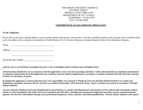 Letter of Recommendation - Winthrop University Hospital