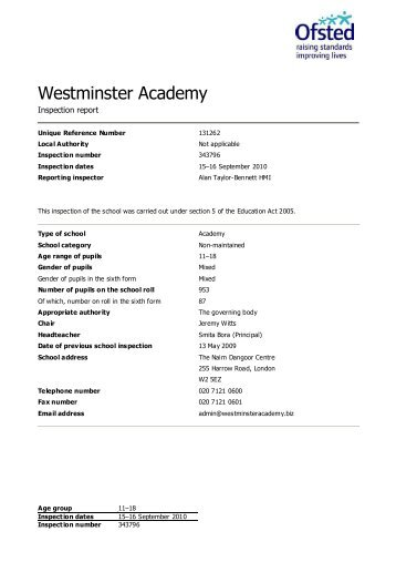 Inspection judgements - Westminster Academy
