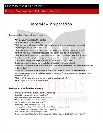 Approved Interview Questions for Positions at the University of