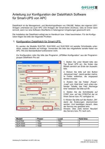 Anleitung für DataWatch mit APC-USV - Online USV Systeme