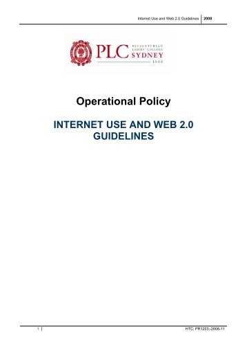Internet Use and Web 2.0 Guidelines