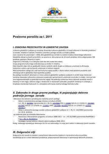 Poslovno poročilo za leto 2011 - Ljubljana Puppet Theatre