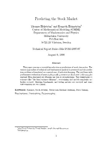 Predicting the Stock Market Thomas HellstrSom1 and ... - Gilles Daniel