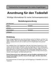 Anordnung für den Todesfall - Moosseedorf