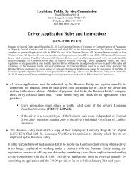 Driver Application Rules and Instructions - Louisiana Public Service ...