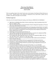 Moon Area School District Board of Education Minutes June 10, 2013