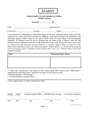 IS Proposal Form - Media Sciences - SZABIST