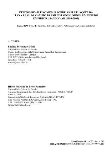 efeitos reais e nominais sobre as flutuações da taxa real de ... - Anpec