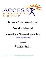 Access Business Group Vendor Manual - Supplier Portal