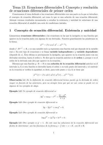 Tema 13: Ecuaciones diferenciales I: Concepto y resolución de ...