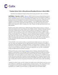 Teleplaza Selects Calix to Bring Advanced Broadband Services to ...