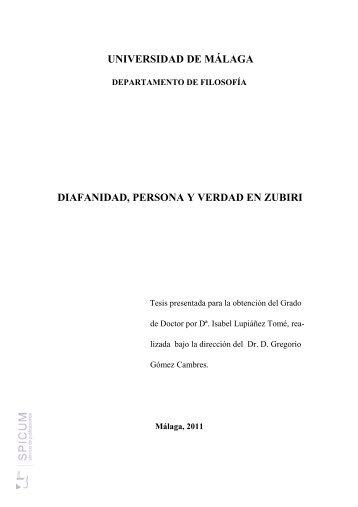 Diafanidad, persona y verdad en zubiri - Repositorio Institucional de ...