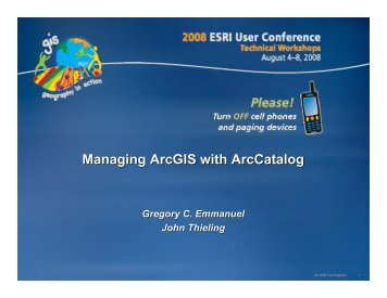 Managing ArcGIS with ArcCatalog