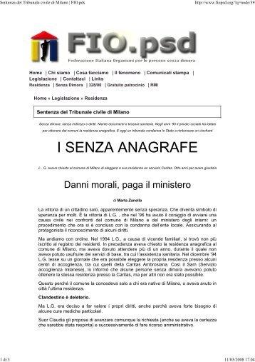 Sentenza del Tribunale civile di Milano | FIO.pds - Avvocato di strada