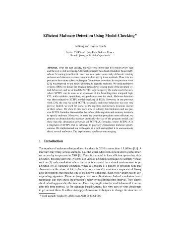 Efficient Malware Detection Using Model-Checking - liafa