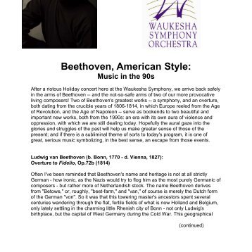 Beethoven, American Style: Music in the 90s - Wisconsin Philharmonic