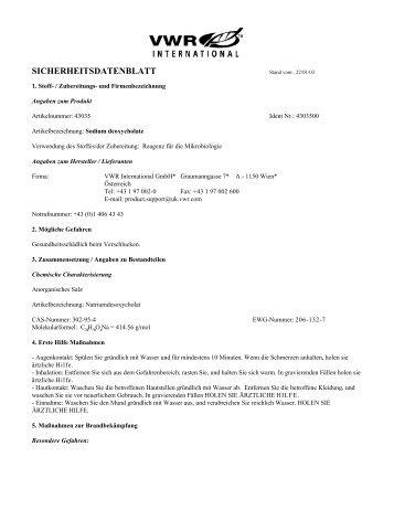 Sodium deoxycholate - VWR International
