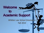 Welcome to Academic Support - Whittier Law School