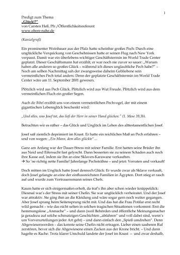 """1 Predigt zum Thema """"Glück!?"""" von Carsten Heß, Pfr ..."""