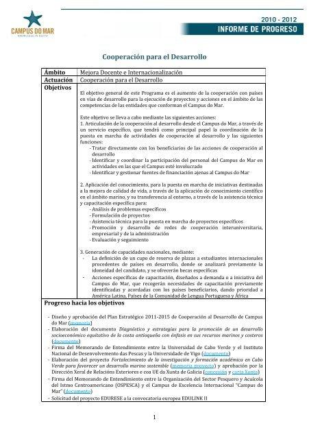 Plan Estratégico 2011-2015 de Cooperación al ... - Campus do Mar
