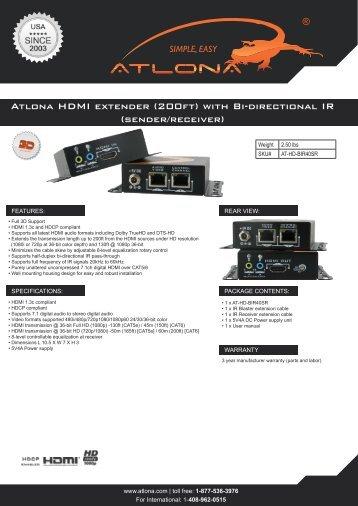 Atlona HDMI extender (200ft) with Bi-directional IR (sender/receiver)