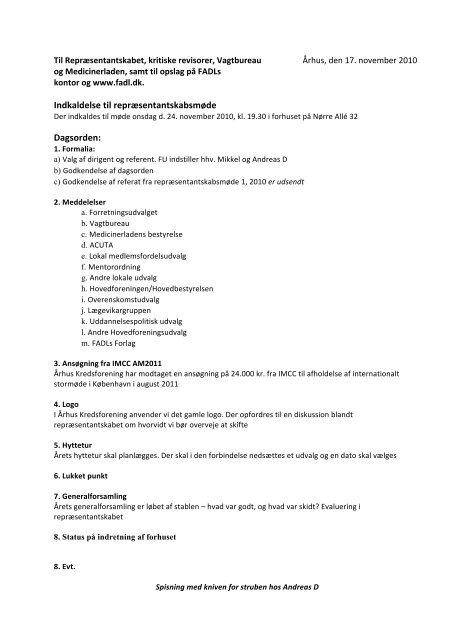 Indkaldelse 2 Nov - fadl.dk