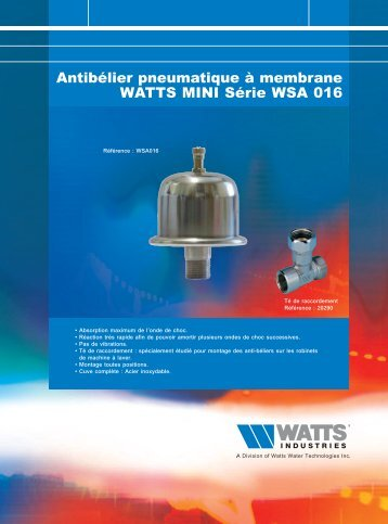 Antibélier pneumatique à membrane WATTS MINI ... - Watts Industries