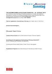 TEILNAHMEFORMULAR BLAUER SONNTAG - 22. AUGUST 2010