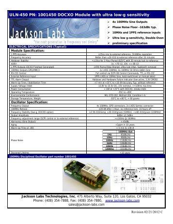Double Oven Specsheet - Jackson Labs Technologies, Inc.