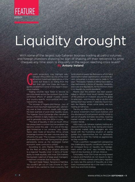 Liquidity drought - Apex Fund Services