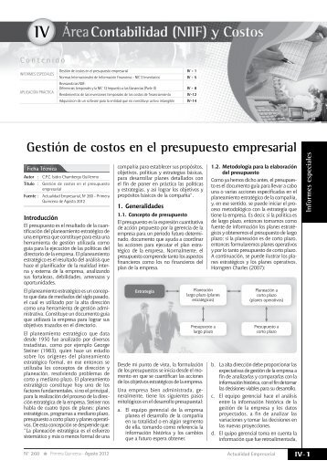 IV Gestión de costos en el presupuesto empresarial - Revista ...