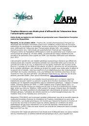 Trophos démarre une étude pivot d'efficacité de l'olesoxime dans l ...