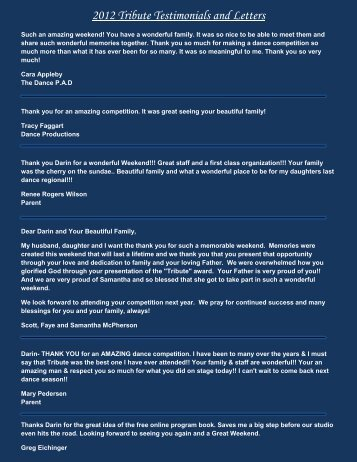 2012 Tribute Testimonials and Letters - Tribute National Talent