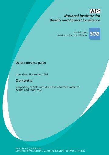 CG42 Dementia - National Institute for Health and Clinical Excellence