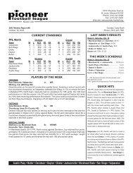 2003 Weekly Notes - Pioneer Football League