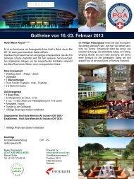 Golfreise von 16.-23. Februar 2013 - Golfclub Domat/Ems