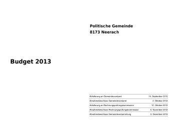 Budget 2013 der Politischen Gemeinde Neerach