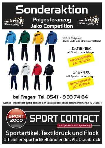 Farbauswahl: Polyesteranzug Jako Competition - Sport Contact