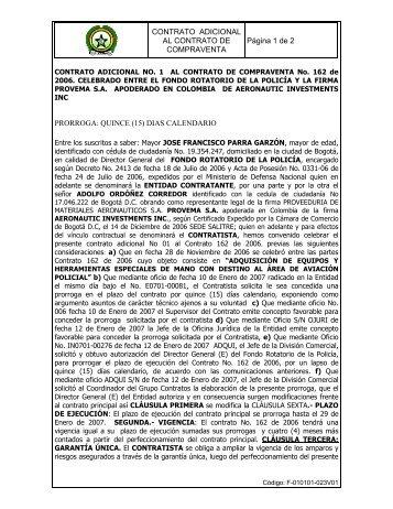 CONTRATO ADICIONAL AL CONTRATO DE COMPRAVENTA ...