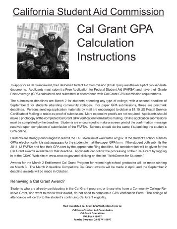 Cal Grant GPA Calculation Instructions - CSAC California Student ...