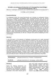 Verhalten von pathogenen Escherichia coli in kurzgereiften ...