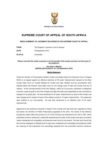 SUPREME COURT OF APPEAL OF SOUTH AFRICA